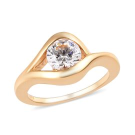 J Francis -  14K Gold Overlay Sterling Silver (Rnd) Solitaire Ring (Size M)  Made with SWAROVSKI ZIRCONIA