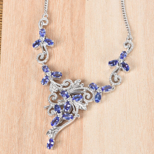 Limited Edition-Premium Tanzanite and Natural Cambodian Zircon Cluster Necklace in Platinum Overlay Sterling Silver (Size 18) 4.500 Ct.