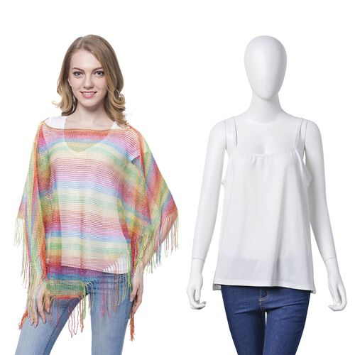 Red, Green, Yellow and Multi Colour Net Poncho (Size 150x45 Cm) and White Colour Vest (Size 60x55 Cm