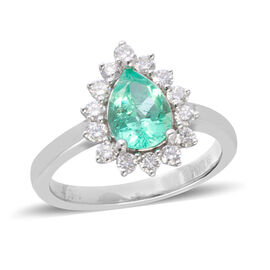 ILIANA 1.6 Ct AAA Boyaca Colombian Emerald and Diamond Halo Ring in 18K White Gold 5.70 Grams SI GH