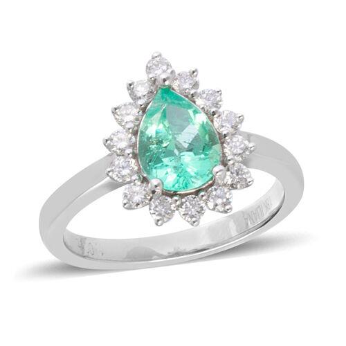 ILIANA 1.6 Ct AAA Boyaca Colombian Emerald and Diamond Halo Ring in 18K White Gold 5.70 Grams SI GH