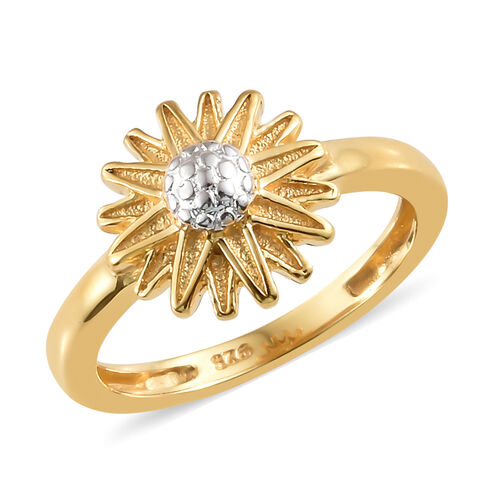 14K Gold Overlay Sterling Silver Daisy Flower Ring