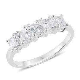 J Francis - Sterling Silver (Sqr) 5 Stone Ring Made with SWAROVSKI ZIRCONIA
