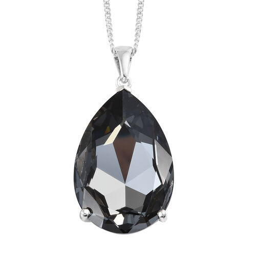 Cocktail Collection- J Francis Crystal from Swarovski - Crystal Silver Night (Pear 40x27mm) Pendant
