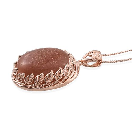 Morogoro Peach Sunstone (Ovl) Pendant With Chain in Rose Gold Overlay Sterling Silver 16.750 Ct.