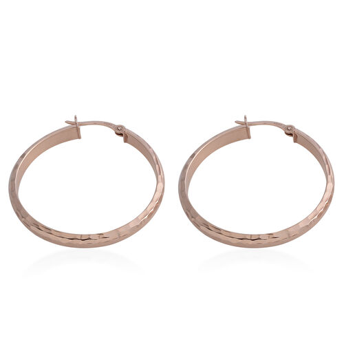 Rose Gold Overlay Sterling Silver Diamond Cut Hoop Earrings (with Clasp Lock)