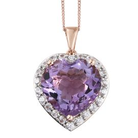 Rose De France Amethyst (Hrt 8.90 Ct), Natural Cambodian Zircon Pendant with Chain in Rose Gold Overlay Sterling Silver 10.000 Ct.