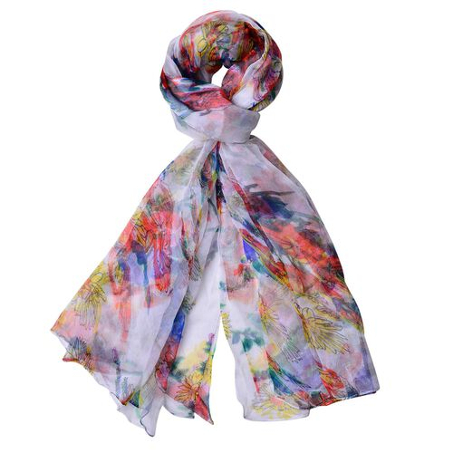 40% Mulberry Silk White, Red and Multi Colour Floral Pattern Scarf (Size 170X105 Cm)