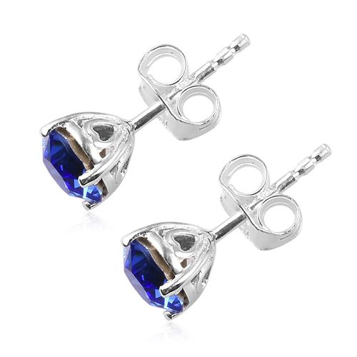 J Francis - Crystal from Swarovski Sapphire Crystal Stud Earrings (with Push Back) in Sterling Silver