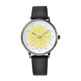 STRADA Japanese Movement Yellow Daisy Floral Water Resistant Watch with Black Colour Strap