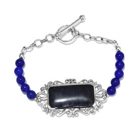 37.50 Carat Blue Aventurine and Agate Beaded Bracelet in Platinum Plated 7.5 Inch