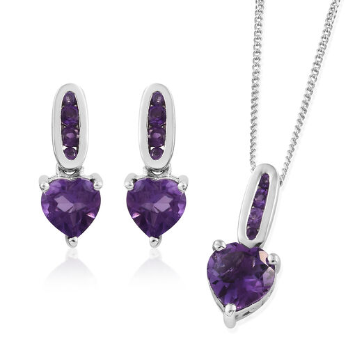 Amethyst 2.75 Ct Silver Pendant with Chain and Earrings (with Push Back) in Platinum Overlay