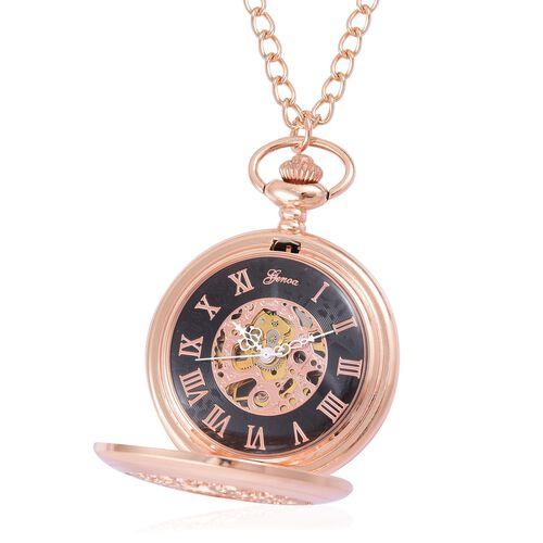 GENOA Automatic Skeleton Black and Rose Gold Dial Water Resistant Pocket Watch with Cutout Pattern Cover and Chain (Size 32) in Rose Gold Tone