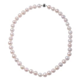 One Time Deal- 9K White Gold Triple Lustre AA Freshwater White Pearl (Rnd 11-13 mm) Necklace (Size 2