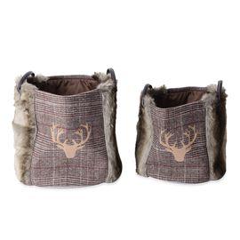 Set of 2 - Faux Fur and Plaid Pattern Nesting Storage Basket