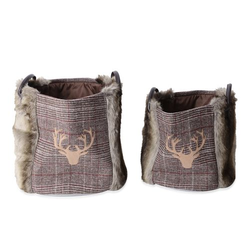 Set of 2 - Faux Fur and Plaid Pattern Nesting Storage Basket
