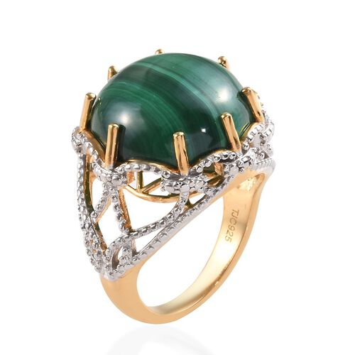 GP Malachite (Rnd), Blue Sapphire Ring in 14K Gold Overlay Sterling Silver 16.03 Ct, Silver wt 5.27 Gms