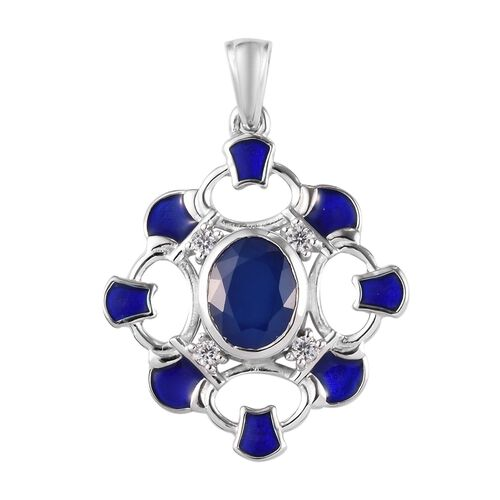 Tanzanian Blue Spinel and Natural Cambodian Zircon Enamelled Pendant in Platinum Overlay Sterling Si