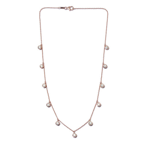 J Francis Rose Gold Overlay Sterling Silver Station Necklace (Size 18) Made with SWAROVSKI ZIRCONIA 5.12 Ct