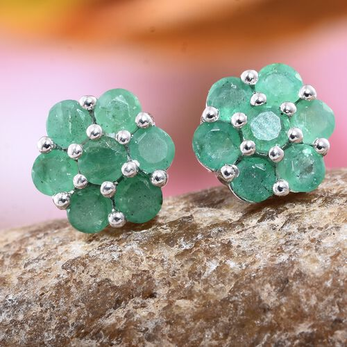 1.50 Carat Kagem Zambian Emerald Floral Stud Earrings in Platinum Plated Silver (with Push Back)