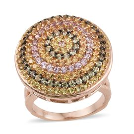 Designer Inspired-Rainbow Sapphire (Rnd) Cluster Ring in Rose Gold Overlay Sterling Silver 3.500 Ct.
