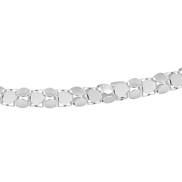 Sterling Silver Mirror Popcorn Chain (Size 24) with Spring Ring Clasp