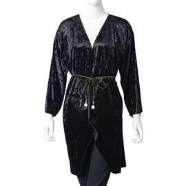 Limited Edition: Deluxe Black Crushed Velvet Long Kimono with Glass Pearl Golden Belt  (Free Size)