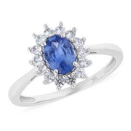 1.51 Ct Royal Ceylon Blue Sapphire and Zircon Floral Halo Ring in 9K White Gold