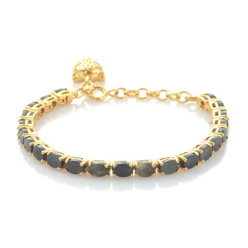 9 Ct Natural Spectrolite Tennis Bracelet With Leopard Charm in Gold Plated Silver 7.75 Inch