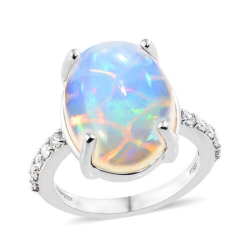 RHAPSODY 5.75 Ct AAAA Ethiopian Opal and Diamond Solitaire Design Ring in 950 Platinum 6.21 Grams VS