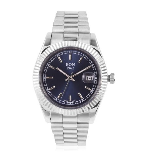 EON 1962 Swiss Movement Blue Dial Sapphire Glass 3ATM Water Resistant Watch in Silver Tone with Stai