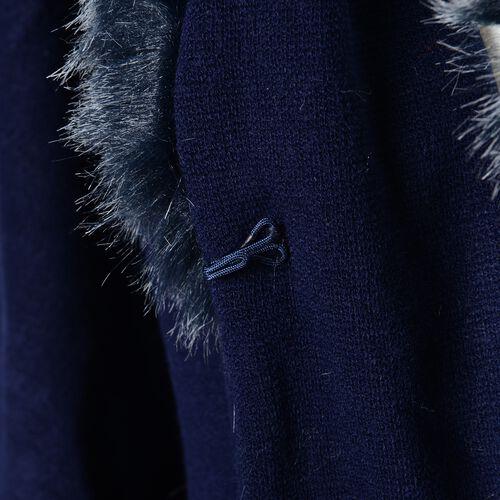 Half Moon Faux Fur Collar Cape (Size 124x76 Cm) Navy Blue Colour