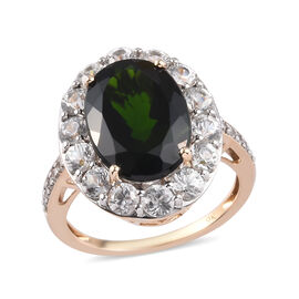 9K Yellow Gold  Russian Diopside, Zircon Halo Ring in Rhodium Overlay 1.90 ct,  Gold Wt. 3.3 Gms  8.