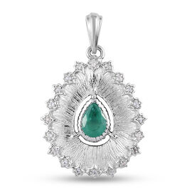 GP Italian Garden Leaf and Flower - Kagem Zambian Emerald, Natural Cambodian Zircon and Blue Sapphir