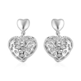 RACHEL GALLEY Rhodium Overlay Sterling Silver Amore Heart Earrings (with Push Back), Silver wt 6.58