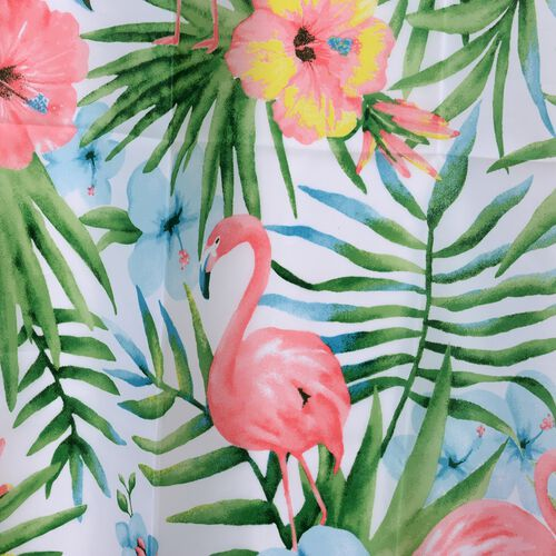 Multi Colour Flowers and Flamingo Printed Shower Curtain (Size 180x180 Cm) with Bathmat (Size 60x40 Cm)