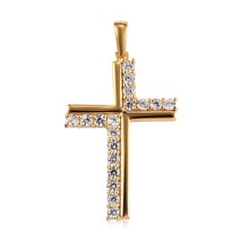 Natural Cambodian Zircon (Rnd) Cross Pendant in 14K Gold Overlay Sterling Silver 1.50 Ct.