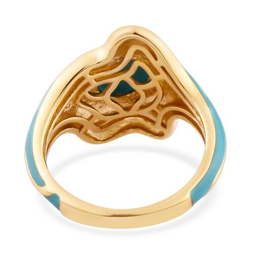 Arizona Sleeping Beauty Turquoise Enamelled Ring in 14K Gold Overlay Sterling Silver 1.11 Ct.