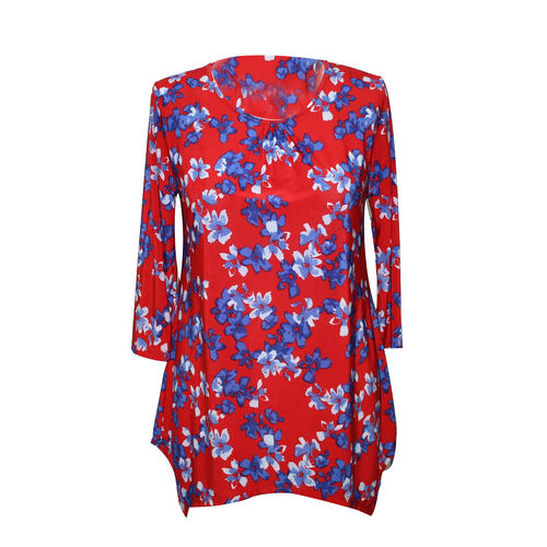 DOD - Ladies Super Soft Longline Red and Multi Colour Floral Printed Top (Size M)