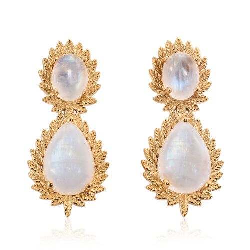 Designer Inspired-Sri Lankan Rainbow Moonstone (Pear) Tear Drop Earrings (with Push Back) in 14K Gol