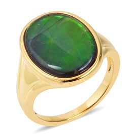 AA Canadian Ammolite (Ovl 18x13 mm) Ring (Size Q) in Vermeil Yellow Gold Overlay Sterling Silver.