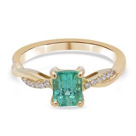 ILIANA 18K Yellow Gold AAA Boyaca Colombian Emerald and Diamond (SI/G-H) Ring 1.16 Ct.
