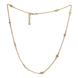 New York Special Close Out Deal- Hebei Peridot (Rnd) Necklace (Size 18 with 1 inch Extender) in Yellow Gold Overlay Sterling Silver   2.600 Ct.