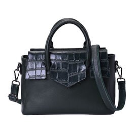 100% Genuine Leather Litchi and Croc Pattern Tote Bag with Detachable and Adjustable Shoulder Strap