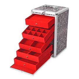 Super Organizer Snake Skin Pattern Anti-Tarnish Lining Five Tier Jewellery Box (Size 33x20x19.5 Cm)