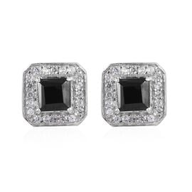 2.25 Ct Elite Shungite and Cambodian Zircon Halo Stud Earring in Platinum Plated Sterling Silver