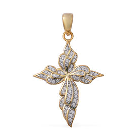 ELANZA Simulated Diamond (Rnd) Cross Pendant in Rhodium and Yellow Gold Overlay Sterling Silver