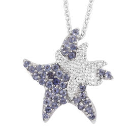 Iolite (Rnd) Star Fish Pendant With Chain (Size 18) in Platinum Overlay Sterling Silver 0.500 Ct.