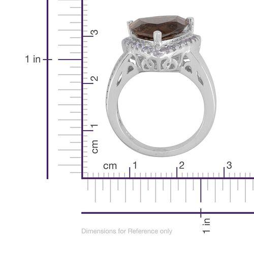 Brazilian Smoky Quartz (Trl 4.75 Ct), Tanzanite Ring in Platinum Overlay Sterling Silver 5.250 Ct.