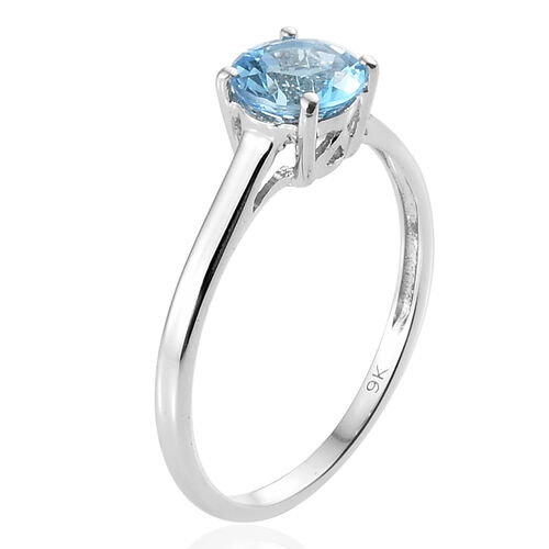9K White Gold Swiss Blue Topaz (Rnd) Solitaire Ring 1.000 Ct.
